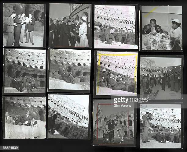A Slim Aarons contact sheet depicting American jazz trumpeter Louis Armstrong and his wife Lucille Brown at the Colosseum during a trip to Rome 1949