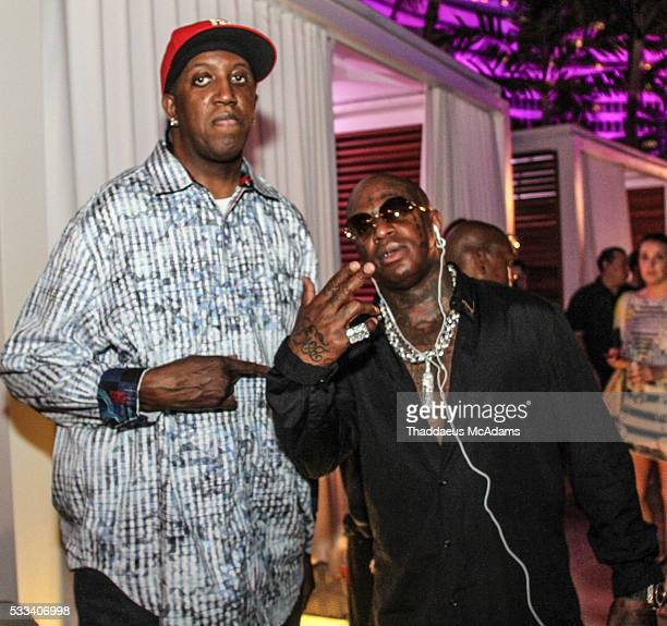 Slim and Birdman aka Baby backstage at IHeartRadio Summer Pool Party 2016 at Fontainebleau Miami Beach on May 21 2016 in Miami Beach Florida