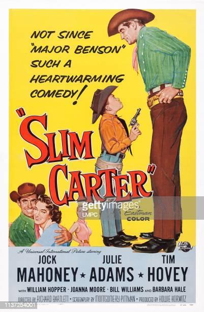 Slim Carter poster US poster art from bottom right Jock Mahoney Julie Adams Joanna Moore Tim Hovey Jock Mahoney 1957