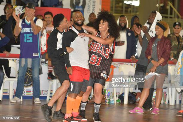 NBA MC Slim Dope Cassper Nyovest and Pearl Thusi at the NBA Africa Celebrity Basketball Game on August 03 2017 in Johannesburg South Africa The NBA...