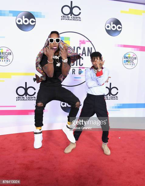 Slim Jimmy and Swae Lee of Rae Sremmurd attend the 2017 American Music Awards at Microsoft Theater on November 19 2017 in Los Angeles California
