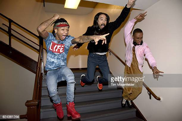 Slim Jimmy Steve Aoki and Swai Lee jump during the Dim Mak 20th Anniversary Tour at the Bill Graham Civic Auditorium on November 18 2016 in San...