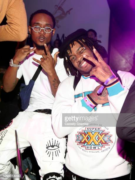 Slim Jxmmi and guest attend TAO Group's Big Game Takeover presented by Tongue Groove on February 2 2019 in Atlanta Georgia