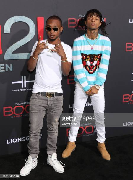 Slim Jxmmi and Swae Lee of Rae Sremmurd attend the premiere of Lionsgate's 'Tyler Perry's Boo 2 A Madea Halloween' at Regal LA Live Stadium 14 on...