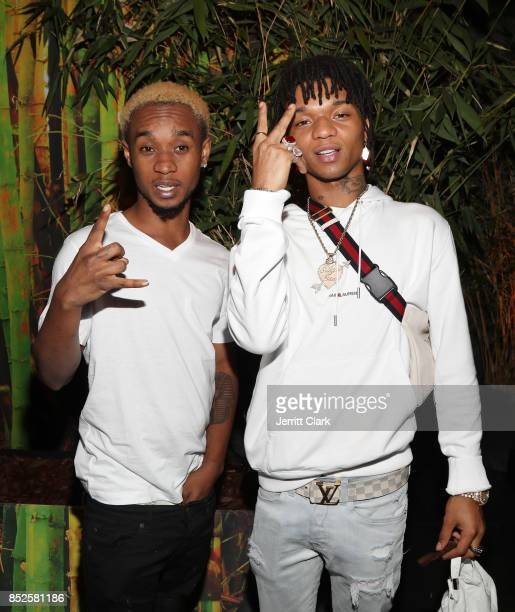 Slim Jxmmi and Swae Lee of Rae Sremmurd attends Jhene Aiko's TRIP launch party powered by Samsung at EB Gallery on September 22 2017 in Los Angeles...