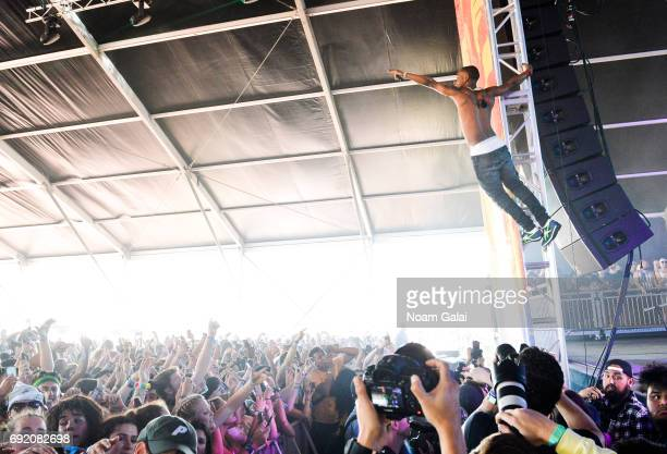 Slim Jxmmi of Rae Sremmurd performs during 2017 Governors Ball Music Festival Day 2 at Randall's Island on June 3 2017 in New York City