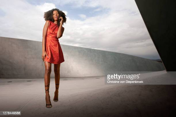 slim model with red dress - catwalk stock pictures, royalty-free photos & images