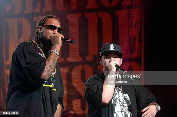 Slim Thug and Paul Wall during Boost Mobile RockCorps Concert Tickets for community service at The Fox Theater in Atlanta Georgia United States