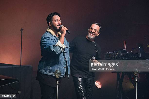 Slimane and Florent Pagny perform at La Cigale on January 27 2017 in Paris France