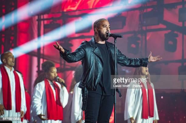 Slimane performs during Paris Olympic Games celebration at Mairie de Paris on September 15 2017 in Paris France