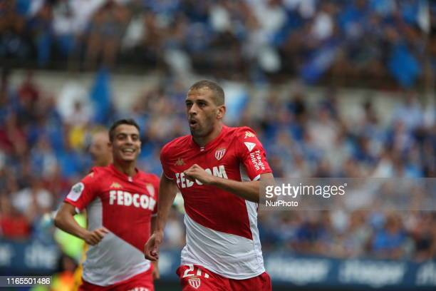 Slimani Islam goal celebrations and Ben Yedder Wissam during the French L1 football match between Strasbourg and Monaco on September 01 2019 at the...