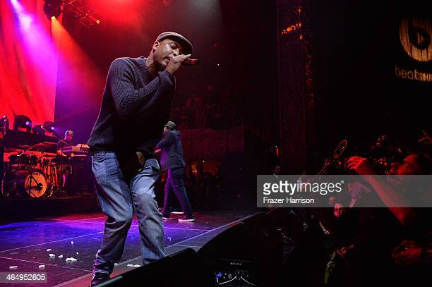 Slimkid3 of Pharcyde performs onstage at the Beats Music Launch Party at Belasco Theatre on January 25 2014 in Los Angeles California