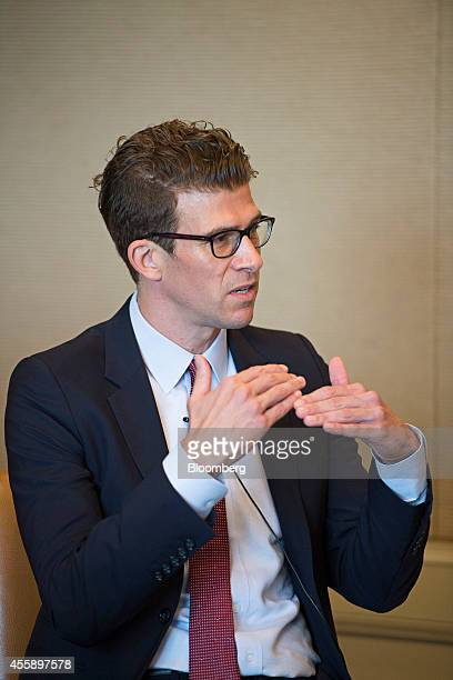 BT Slingsby chief executive officer of the Global Health Innovative Technology Fund gestures as he speaks at the Milken Institute Asia Summit in...