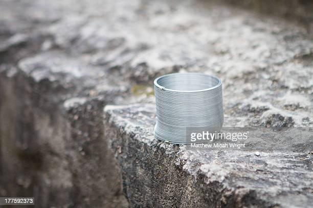 A slinky sitting on the temple steps