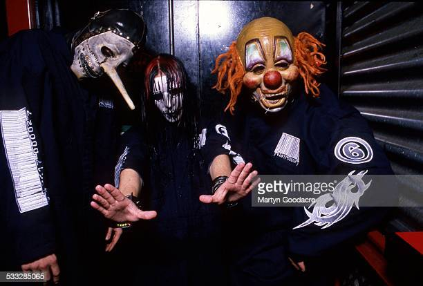 Slipknot backstage at Brixton Academy London United Kingdom 5th March 2000 LR Chris Fehn Joey Jordison Shawn Crahan