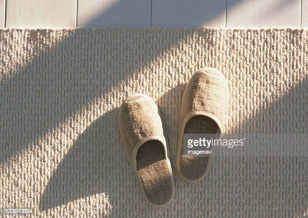 Slippers and rug