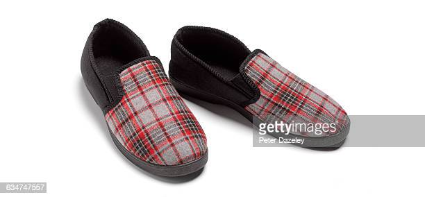 slippers on white background close up - スリッパ ストックフォトと画像