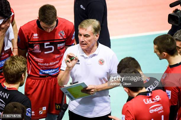 Slivano Prandi coach of Chaumont during the CEV Champions League match Chaumont 52 and SIR Safety Perugia on March 14 2019 in Reims France