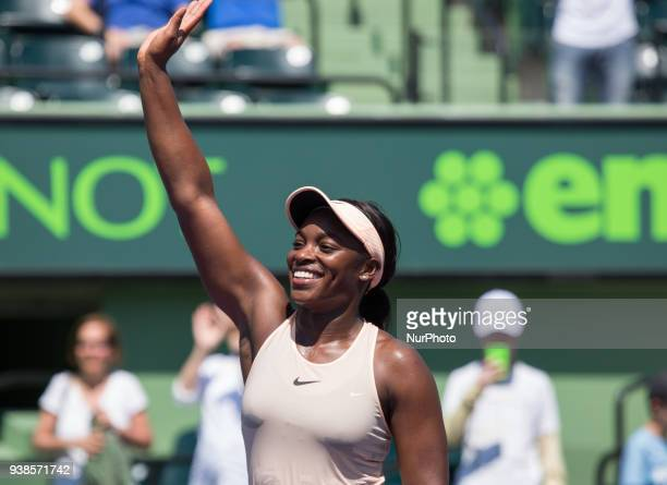 Sloan Stephens from the USA celerabtes her 63 64 victory against Garbine Muguruza from Spain at the Miami Open in Key Biscayne in Key Biscayne on...