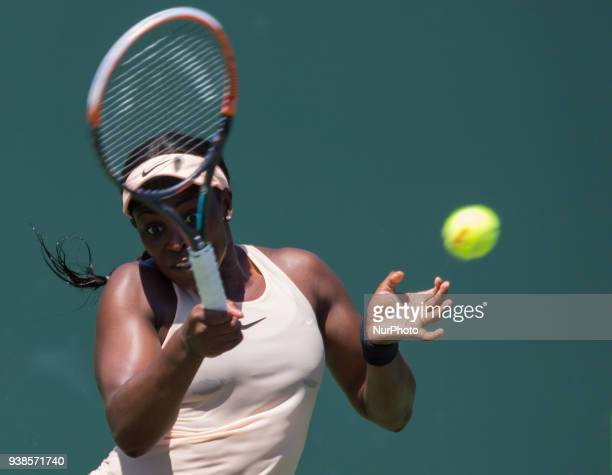 Sloan Stephens from the USA in action against Garbine Muguruza from Spain during her third round match at the Miami Open in Key Biscayne in Key...