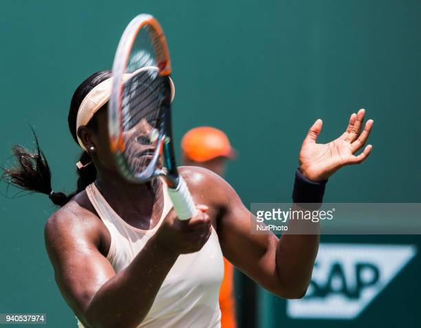 Sloan Stephens from the USA in action against Jelena Ostapenko from Latvia during the Miami Open Final at Key Biscayne in Key Biscayne on March 31...
