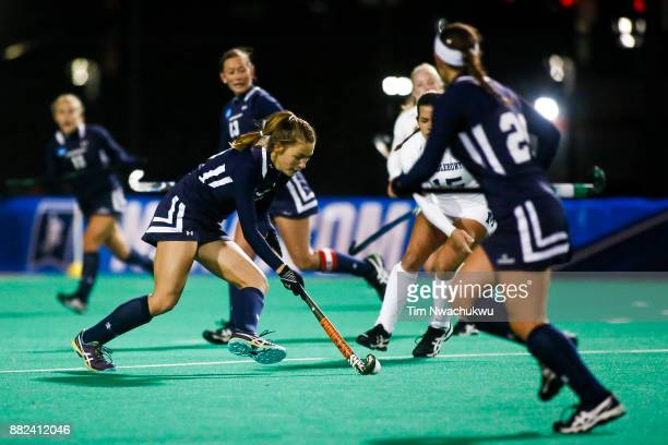 Sloane Adams of Messiah College dribbles the ball during the Division III Women's Field Hockey Championship held at Trager Stadium on November 19...
