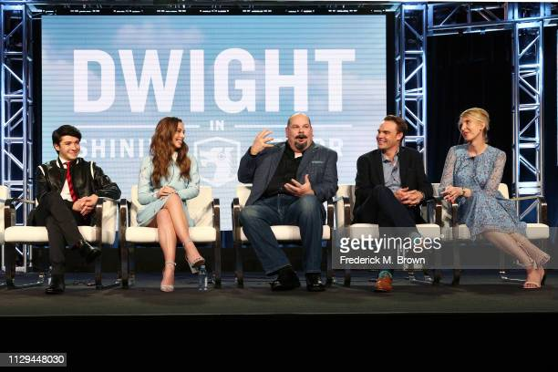 Sloane Morgan Siegel Caitlin Carmichael Joel McCrary Brian Adams and LeeAnne Adams of the television show 'Dwight in Shining Armor' speak during the...