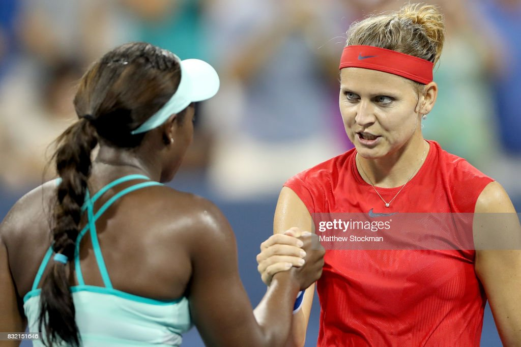 Sloane Steohens acknowledges is congratulated by Lucie Safarova of Czech Republic after their match during day 4 of the Western & Southern Open at the Lindner Family Tennis Center on August 14, 2017 in Mason, Ohio.