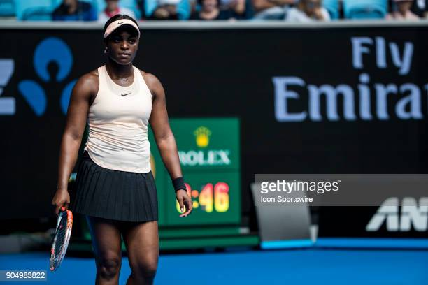 Sloane Stephans of the United States of America reflects on a failed shot during the 2018 Australian Open on January 15 at Margaret Court Area in...