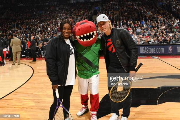 Sloane Stephens and Denis Shapovalov attend the game between the Boston Celtics and the Toronto Raptors on April 4 2018 at the Air Canada Centre in...