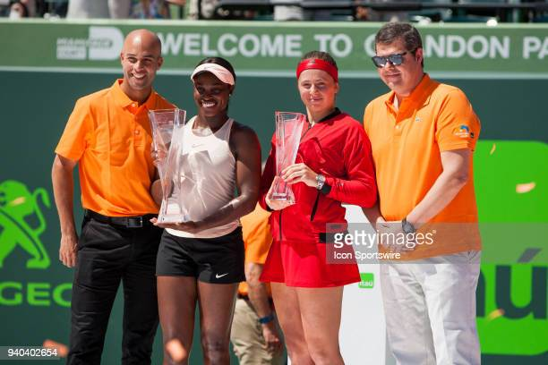 Sloane Stephens and Jelena Ostapenko during the trophy ceremony of the Womens Final of the Miami Open Presented by Itau at Crandon Park Tennis Center...