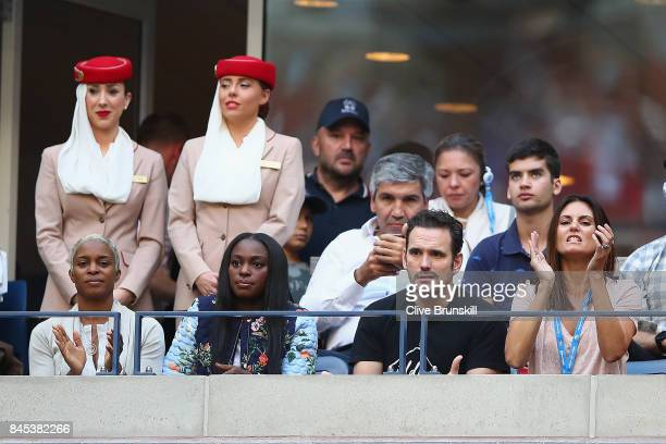 Sloane Stephens and Matt Dillon watch the Men's Singles finals match between Kevin Anderson of South Africa and Rafael Nadal of Spain on Day Fourteen...