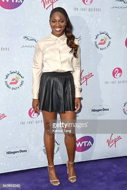 Sloane Stephens arrives for the WTA PreWimbledon Party at Kensington Roof Gardens on June 23 2016 in London England