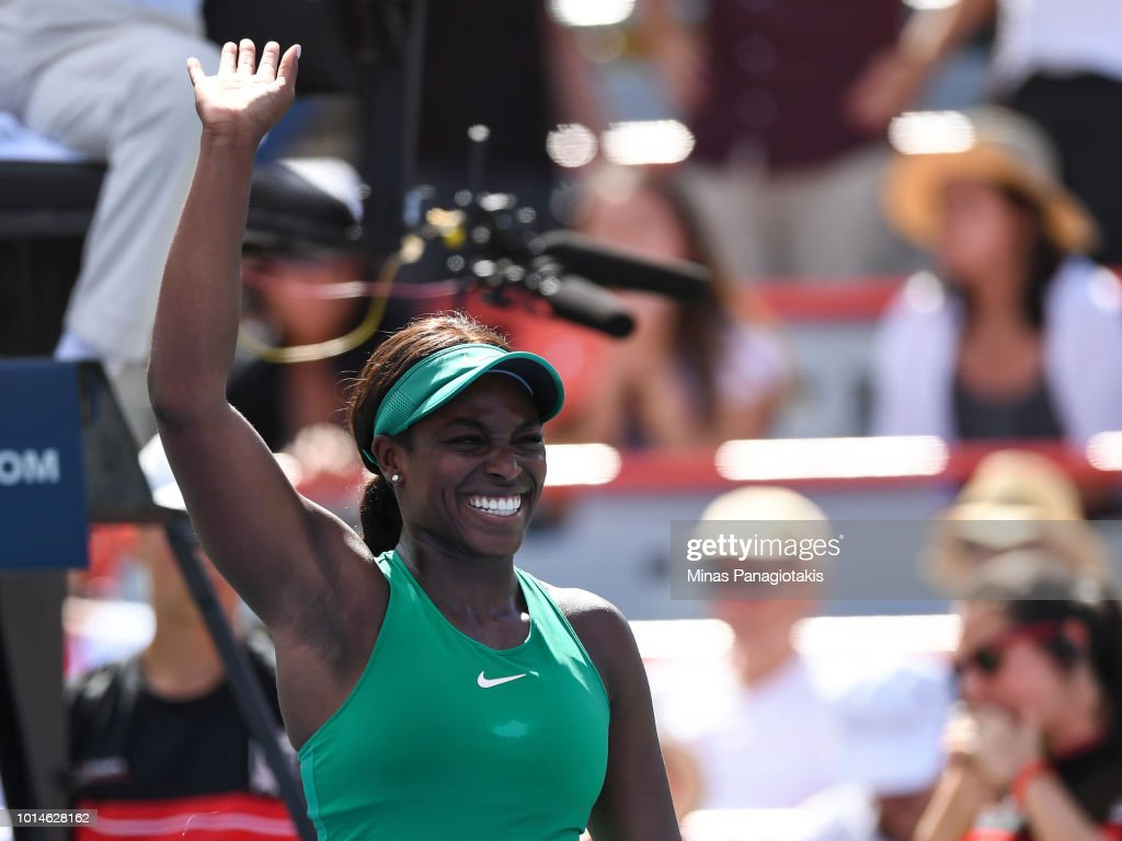 Sloane Stephens celebrates her 6-2, 6-2 victory over Anastasija Sevastova of Latvia during day five of the Rogers Cup at IGA Stadium on August 10, 2018 in Montreal, Quebec, Canada.