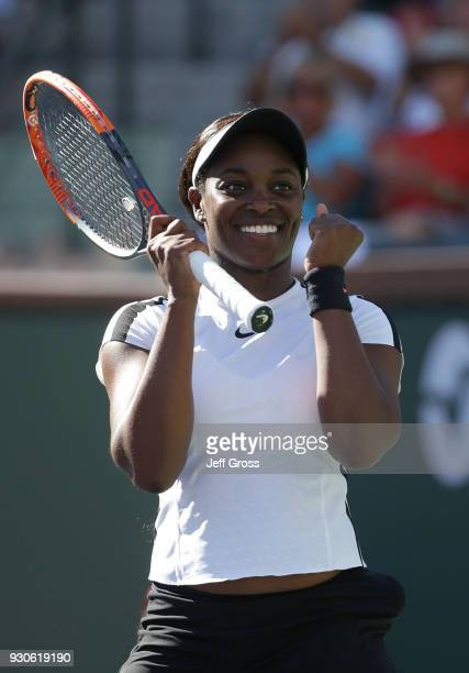 Sloane Stephens celebrates her victory over Victoria Azarenka of Belarus during the BNP Paribas Open on March 11 2018 at the Indian Wells Tennis...
