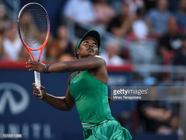 Sloane Stephens follows the ball against Elina Svitolina of Ukraine during day six of the Rogers Cup at IGA Stadium on August 11 2018 in Montreal...