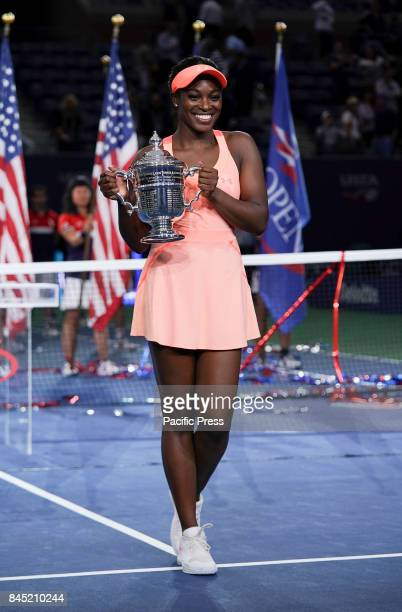 Sloane Stephens holds trophy after winning women championship at US Open tennis tournament at Billie Jean King National Tennis Center