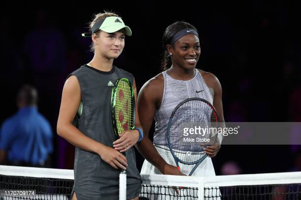 Sloane Stephens of the United States and Anna Kalinskaya of Russia pose prior to their Women's Singles first round match on day two of the 2019 US...