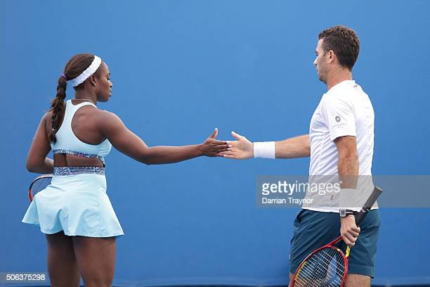 Sloane Stephens of the United States and JeanJulien Rojer of the Netherlands during their first round mixed doubled match against HaoChing Chan and...