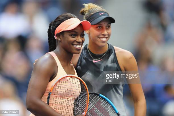 Sloane Stephens of the United States and Madison Keys of the United States pose before their Women's Singles finals match on Day Thirteen of the 2017...
