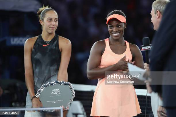 Sloane Stephens of the United States and Madison Keys of the United States pose during the trophy presentation after the Women's Singles finals match...