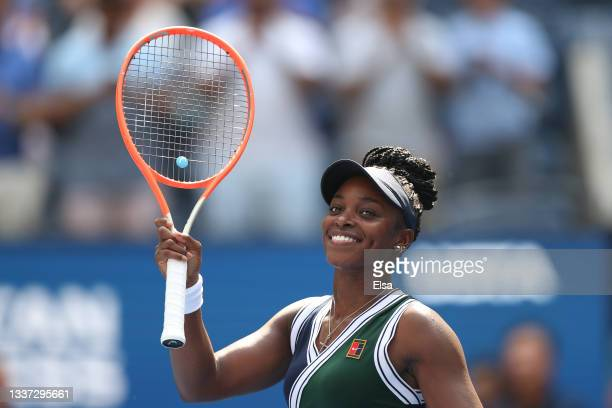 Sloane Stephens of the United States celebrate after defeating Madison Keys of the United States during their woman's singles first round match on...