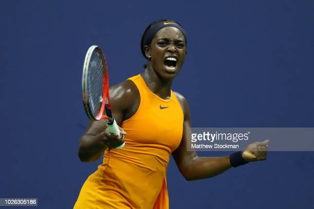 Sloane Stephens of the United States celebrates a point during her women's singles fourth round match against Elise Mertens of Belgium on Day Seven...