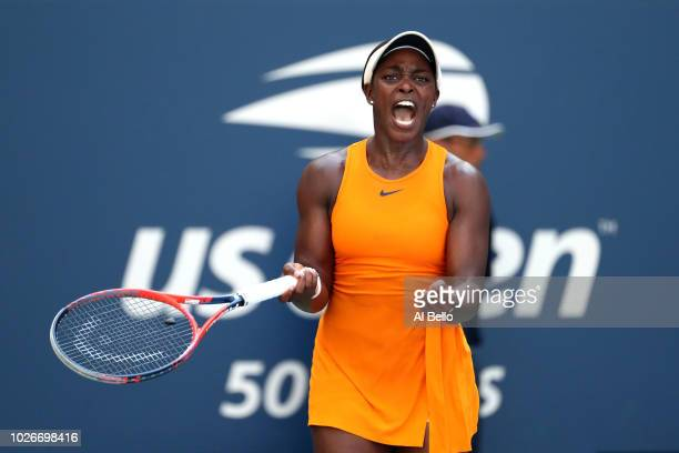 Sloane Stephens of the United States celebrates a point during the women's singles quarterfinal match against Anastasija Sevastova of Latvia on Day...