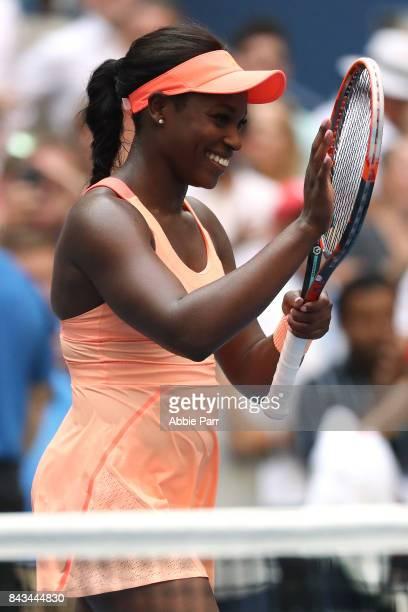 Sloane Stephens of the United States celebrates after defeating Anastasija Sevastova of Latvia in their Women's Singles Quarter Final match on Day...
