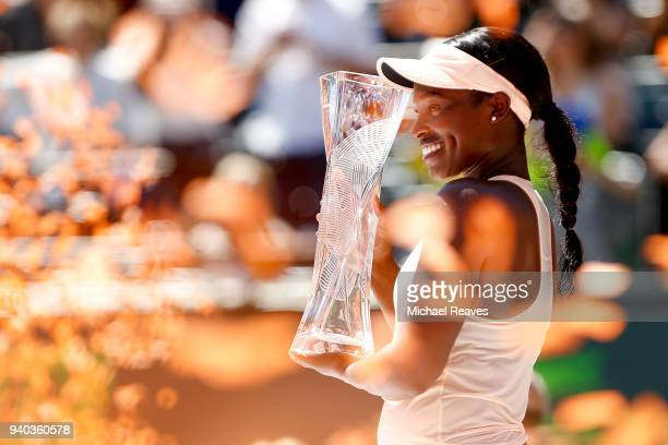 Sloane Stephens of the United States celebrates after defeating Jelena Ostapenko of Latvia in the women's final on Day 13 of the Miami Open Presented...