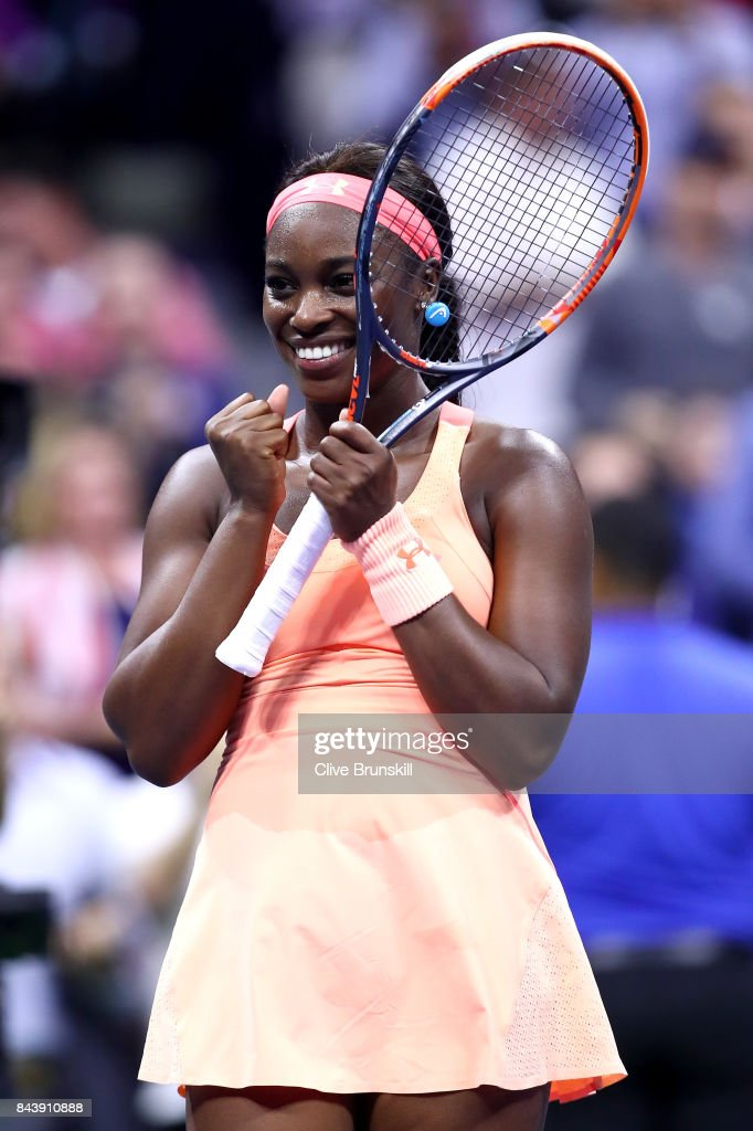 Sloane Stephens of the United States celebrates after defeating Venus Williams of the United States in their Women's Singles Semifinal match on Day Eleven of the 2017 US Open at the USTA Billie Jean King National Tennis Center on September 7, 2017 in the Flushing neighborhood of the Queens borough of New York City. Sloane Stephens defeated Venus Williams in 3 sets with a score of 6-1, 0-6, 7-5.