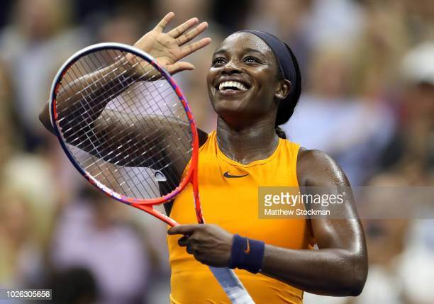 Sloane Stephens of the United States celebrates after winning her women's singles fourth round match against Elise Mertens of Belgium on Day Seven of...
