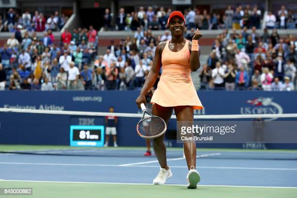 Sloane Stephens of the United States celebrates defeating Madison Keys of the United States after their Women's Singles finals match on Day Thirteen...