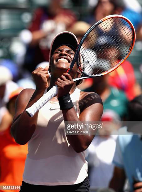 Sloane Stephens of the United States celebrates her straight sets victory against Angelique Kerber of Germany in their fourth round match during the...